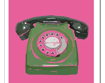 Rotary Phone Illustration-Pop Art Print