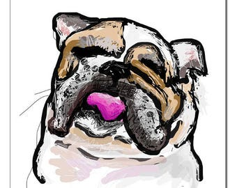 Bulldog Illustration-Pop Art Print