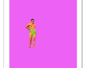 Muscle Man Pose-Pop Art Print
