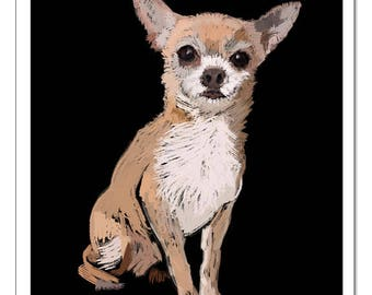 Chihuahua Dog Illustration-Pop Art Print