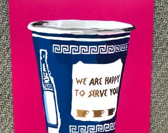 NYC Greek Coffee Cup Illustration-Pop Art Print Hot Pink