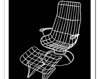 Mid Century Chair and Ottoman Illustration-Pop Art Print
