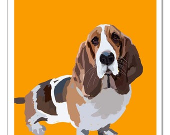Basset Hound Dog Illustration-Pop Art Print