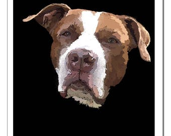 Pit Bull Dog Illustration-Pop Art Print