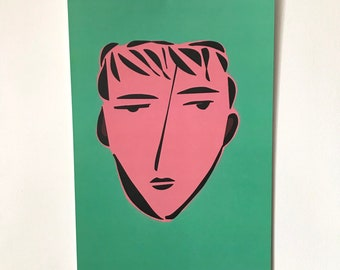 Face Illustration-Pop Art Print