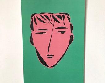 Face Illustration-Pop Art Print