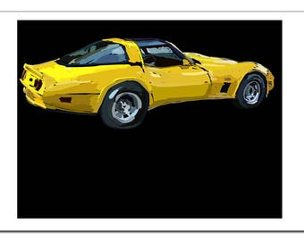 Vintage Corvette Illustration-Pop Art Print