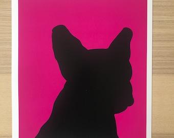French Bulldog Silhouette-Pop Art Print