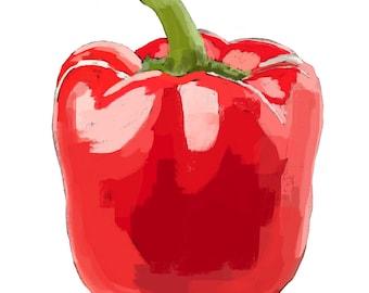 Red Pepper-Pop Art Print White BG