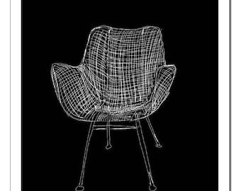 Wassily Chair Illustration-Pop Art Print