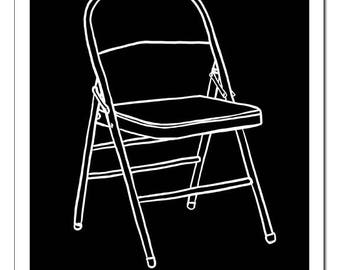 Folding Chair Illustration-Pop Art Print
