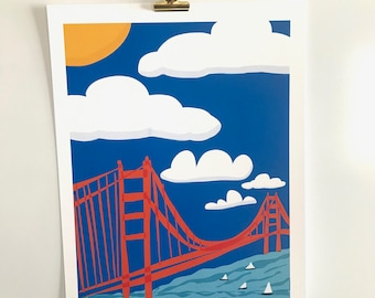SF Golden Gate Bridge original print