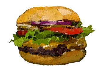 Hamburger-Pop Art Print White BG