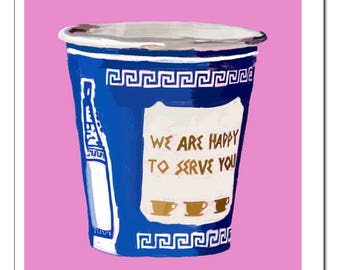 NYC Greek Coffee Cup LT PINK Illustration-Pop Art Print