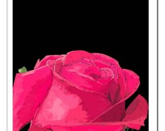 Red Rose Illustration-Pop Art Print