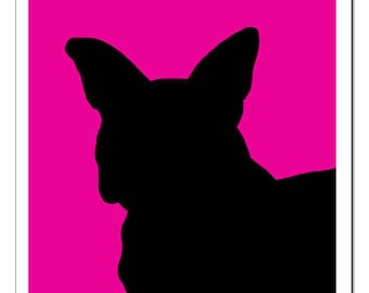 French Bulldog Silhouette-Pop Art Print CHIEN