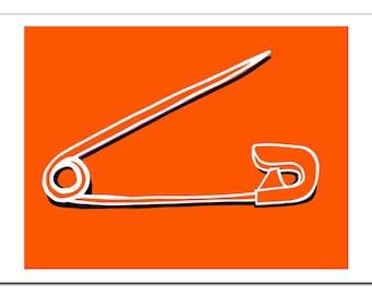 Safety Pin Illustration-Pop Art Print