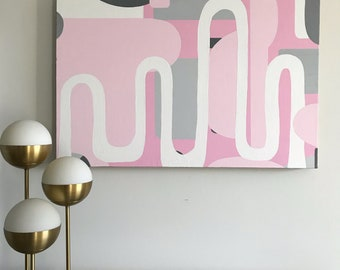 Intersection: Modern Pink and Grey Painting