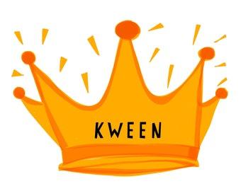 Kween Crown Pop Art Illustration Print