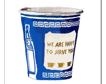 NYC Greek Coffee Cup WHITE Illustration-Pop Art Print