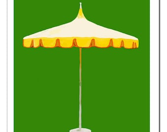 Palm Springs Umbrella-Pop Art Print