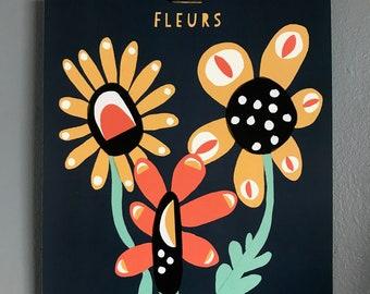 Fleurs Illustration Pop Art Print