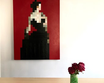 Pixel Red Lady Portrait Original Painting