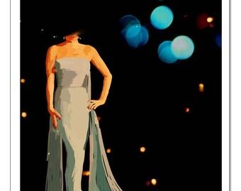 Glamour Gown Illustration-Pop Art Print