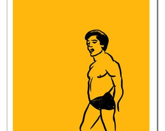 Muscle Man Line Drawing-Pop Art Print
