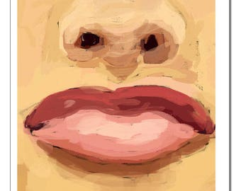 Lips and Nose Illustration-Pop Art Print