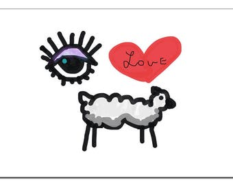 Eye Love Ewe Illustration-Pop Art Print