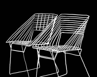 Chairs Illustration-Pop Art Print