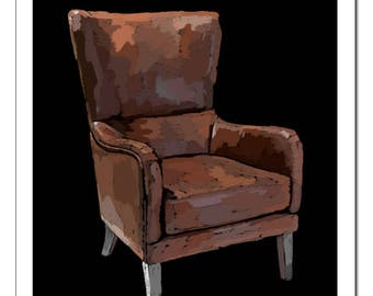 Wingback Chair Illustration-Pop Art Print