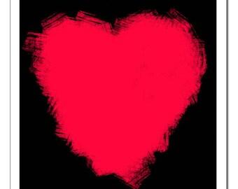 Red Heart Illustration-Pop Art Print