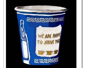 NYC Greek Coffee Cup Illustration-Pop Art Print