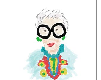 Iris Apfel Illustration-Pop Art Print