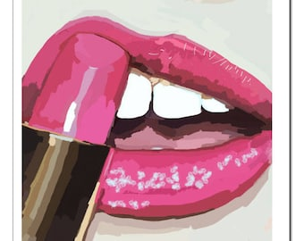 Lips n' Lipstick Illustration-Pop Art Print
