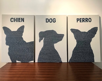 Original Paintings Triptych of DOGS