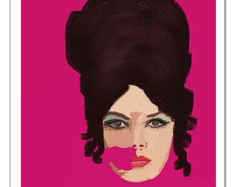 Beehive Woman Illustration-Pop Art Print