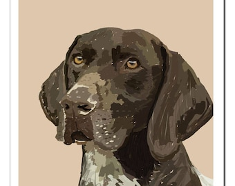 German Shorthaired Pointer Dog Illustration-Pop Art Print