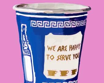 NYC Greek Coffee Cup Illustration-Pop Art Print Pink