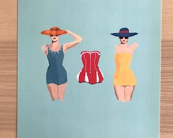 1950s Bathing Beauties Illustration-Pop Art Print