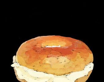 Bagel and Cream Cheese Pop Art Print