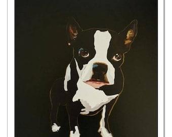 Boston Terrier Dog Illustration-Pop Art Print