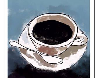 Artistic Coffee Cup Illustration Art Print