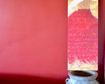 Original Painting of Woman in Red-Wall Art on Wood