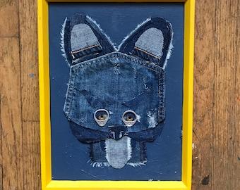 Denim Dog Wall Art