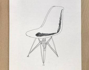 Eames Chair Illustration-Pop Art Print