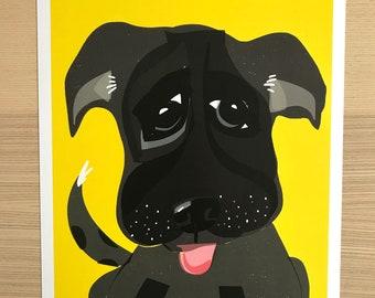 Funny Black Dog Original Print