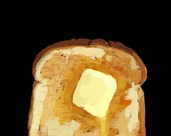 Toast Pop Art Illustration Print BLACK